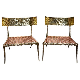 """King & Queen"" Modern Brass Low Side Chairs For Sale"