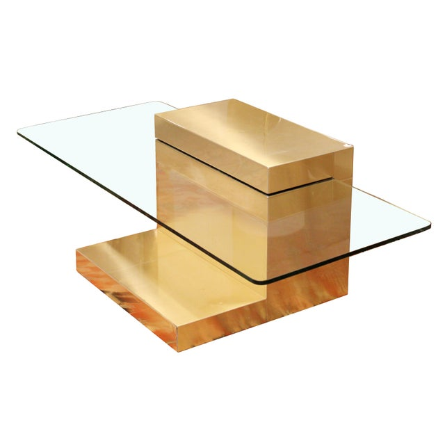 Mid-Century Modern Paul Evans Cantilever Brass Glass Cityscape Coffee Table For Sale - Image 12 of 12