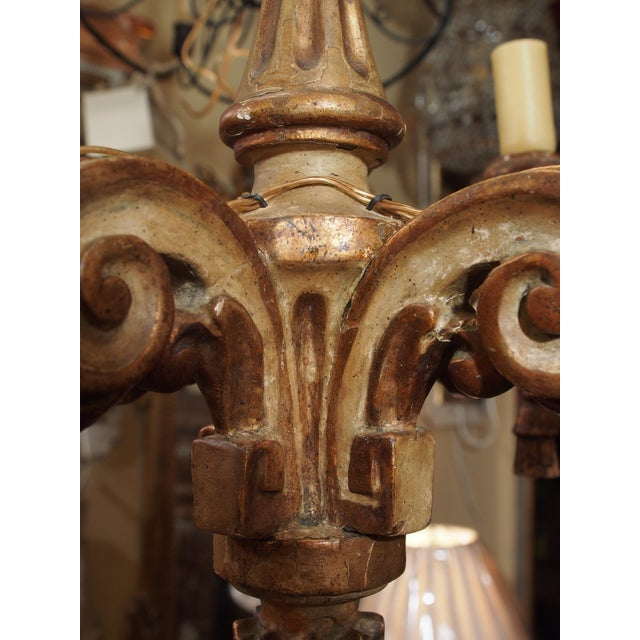 Early 19th Century 18th Century Italian Small Gilt Wood Chandelier For Sale - Image 5 of 6