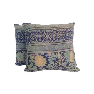 1970s Vintage Block Printed Kantha Pillows - Pair For Sale