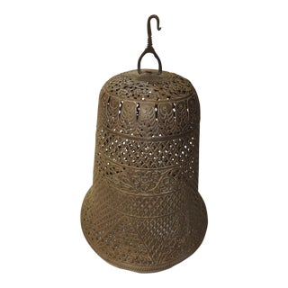 Vintage Moroccan Hanging Light Metal Shade For Sale