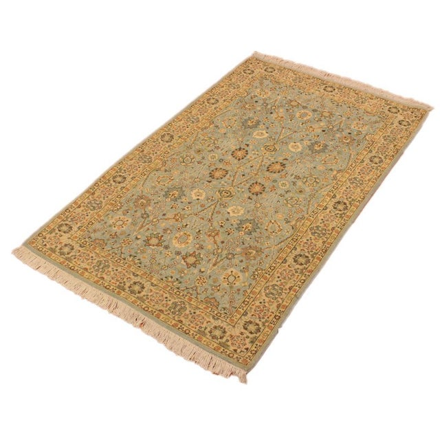 Shabby Chic Shabby Chic Istanbul Archie Blue/Ivory Turkish Hand-Knotted Rug -3'1 X 5'0 For Sale - Image 3 of 8