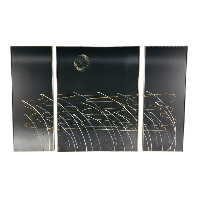 Mid-Century Three Panel Oil Painting on Canvas - 3 Pc. For Sale