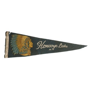 Vintage Honeoye Lake n.y. Felt Flag Pennant