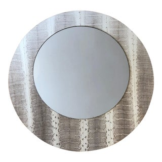 Contemporary Round Snakeskin Leather Mirror For Sale