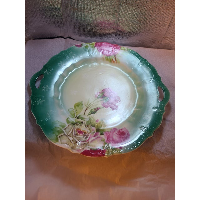 Ceramic Antique Prussian Rose Pattern Handled Cake Plate For Sale - Image 7 of 11