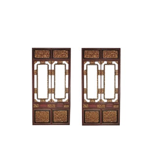 19th Century Vintage Chinese Carved Gilt Wood and Lacquered Architectural Panels- A Pair For Sale