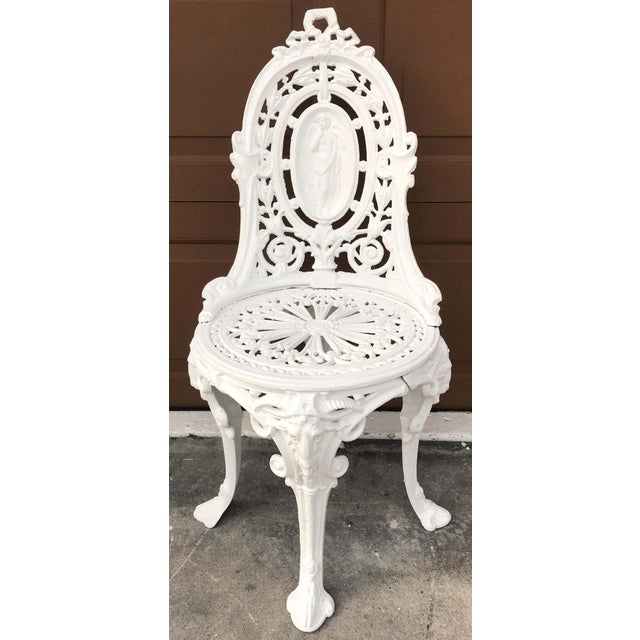 Metal Pair of Victorian Angel Motif Wrought Iron Garden Chairs, Restored For Sale - Image 7 of 12