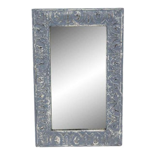 Handcrafted Slate Blue Egg & Dart Antique Tin Mirror For Sale
