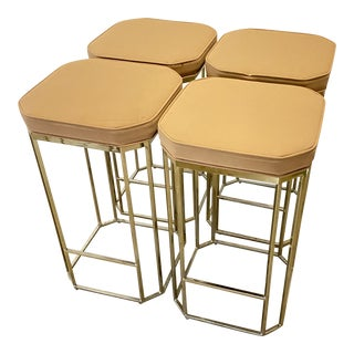 1970s Gold Chrome Counter Height Stools- Set of 4 For Sale