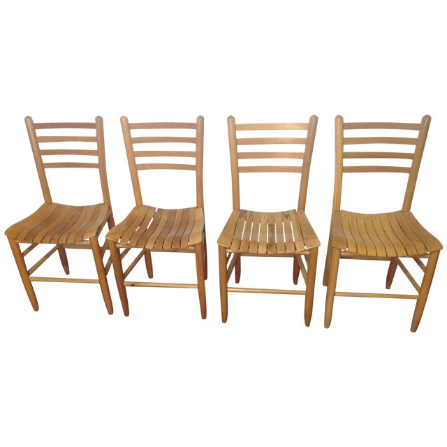 Vintage Sparrow Slat Ladder Back Chairs - Set of 4 - Image 1 of 9