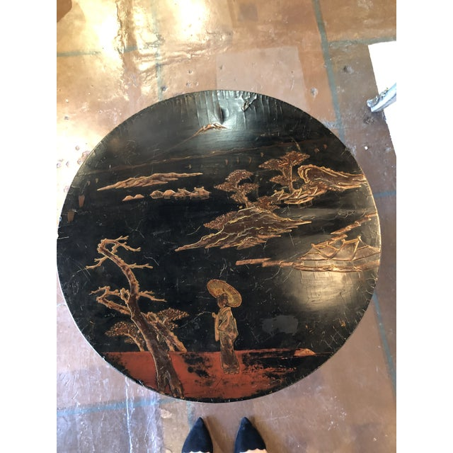 Black Lacquer and Painted Chinoiserie Tilt Top Table For Sale - Image 9 of 13