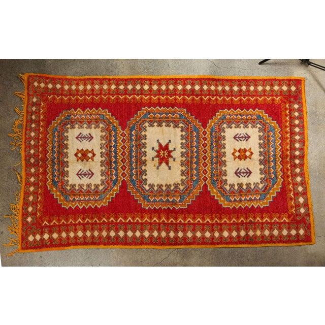 Vintage Moroccan Orange Tribal Rug For Sale - Image 10 of 10