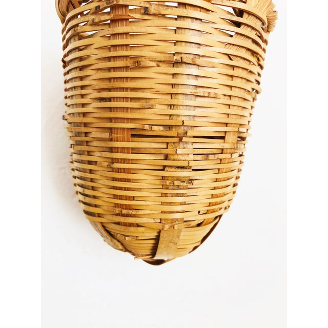 Late 20th Century Vintage Wicker Wall Pocket Vase For Sale - Image 5 of 7