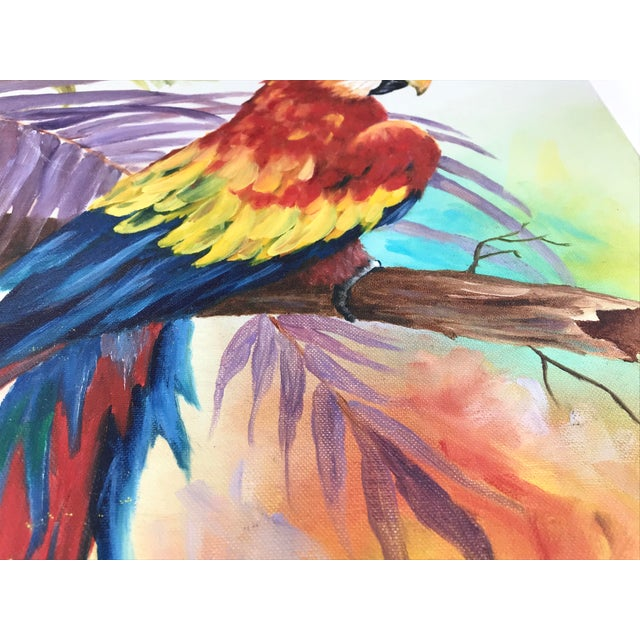 Contemporary 1980's Vibrant Stretched Canvas Parrot on a Branch Signed Grimes For Sale - Image 3 of 9