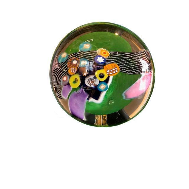 Millefiori Design Contemporary Hand Blown Glass Disk For Sale - Image 4 of 6