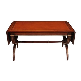 Regency Style Leather Top Coffee Table For Sale