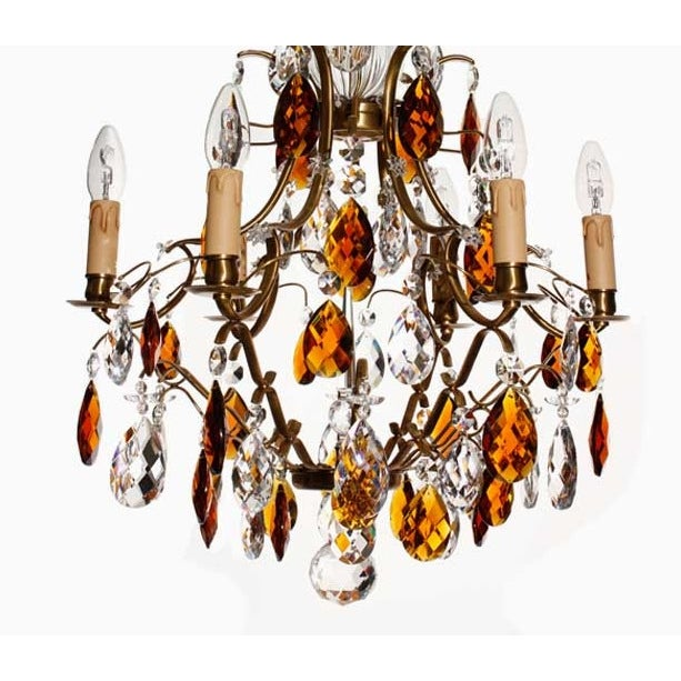 Baroque Cognac 6 Arm Electrical Candle Chandelier For Sale - Image 4 of 4