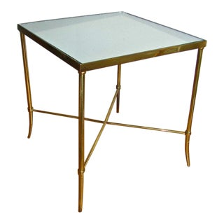 1960's Vintage Italian Brass X Base Side Table For Sale