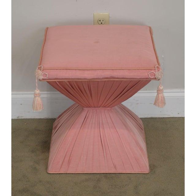 1950s Hollywood Regency Pair Vintage Pink Upholstered Stools For Sale - Image 5 of 12