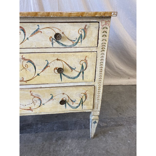 Italian Italian Commode With Hand Painted Designs - 19th C For Sale - Image 3 of 12