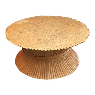 Vintage Hollywood Regency Bamboo Wheat Sheaf Coffee Table For Sale