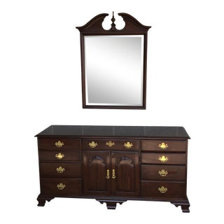 Harden Solid Cherry 11 Drawer Chippendale Style Triple Dresser W/Mirror For Sale
