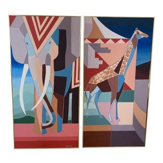 Safari Animal Paintings - a PAir For Sale