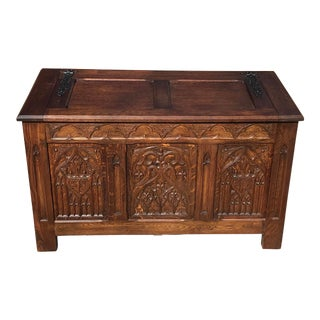 19th Century French Country Carved Blanket Chest For Sale