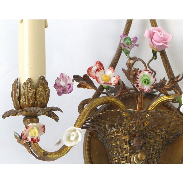 Antique French Bronze and Porcelain Floral Basket Sconces - a Pair For Sale In Miami - Image 6 of 10
