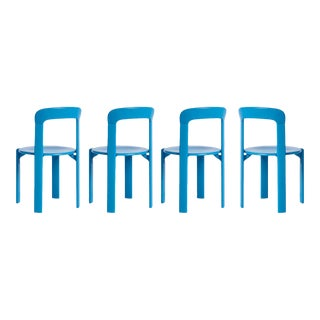 Mid-Century Modern Swiss Classic Rey Blue Chairs by Bruno Rey - Set of 4 For Sale