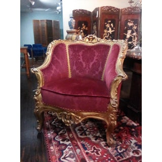 Early 20th Century Vintage French Baroque Style Bergere Red Chairs- Set of 4 Preview