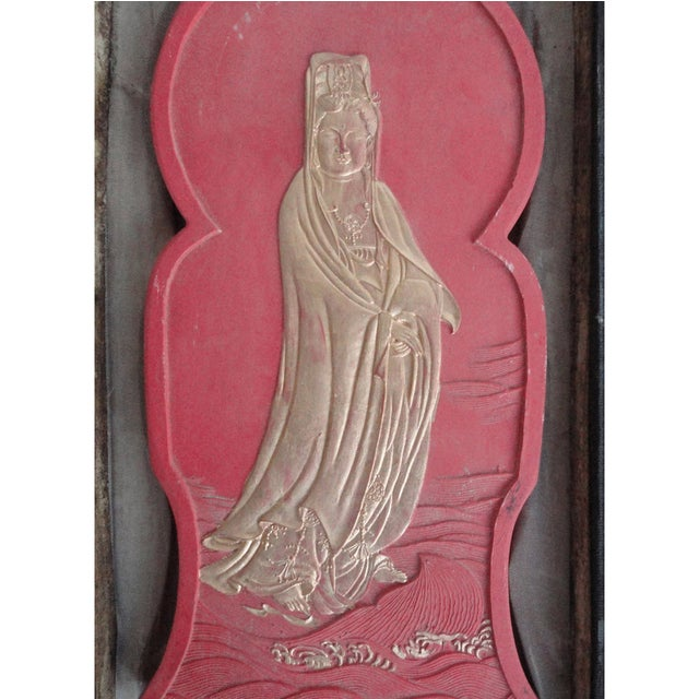 Calligraphic Red Ink Stone Kwan Yin Sculpture For Sale - Image 4 of 5