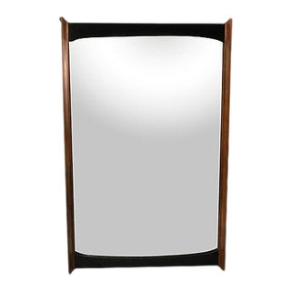 1960s Walnut & Black Painted Wall Mirror