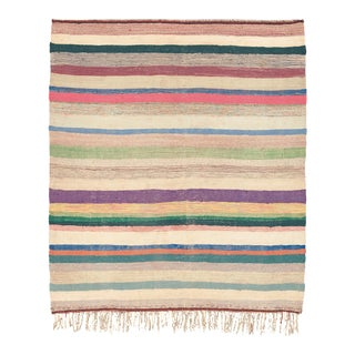 Mid 20th Century Moroccan Rag Rug - 4′9″ × 5′5″ For Sale