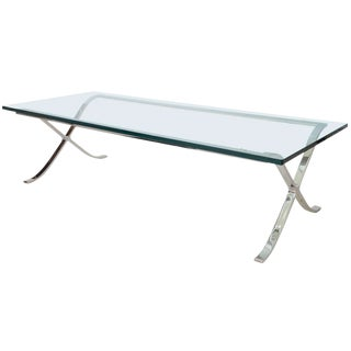 """Modern Rectangular Glass and Polished Chrome """"X-Base"""" Cocktail Table For Sale"""