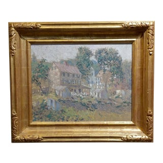 Edwin Roscoe Shrader -Rural Farmhouse-California Impressionist-Oil Painting
