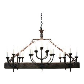 Antique Rustic Country French Wrought Iron and Timber Chandelier For Sale