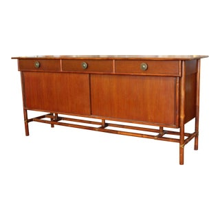 Mid Century Modern Baker McGuire Bamboo Rattan Wood Credenza 1970s For Sale