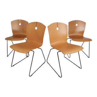 Modern Bentwood Stacking Chairs by Wieland, Set of 4 For Sale