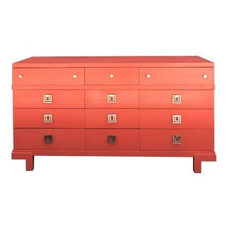 Mid Century Restored Lacquered 12~Drawer Dresser For Sale