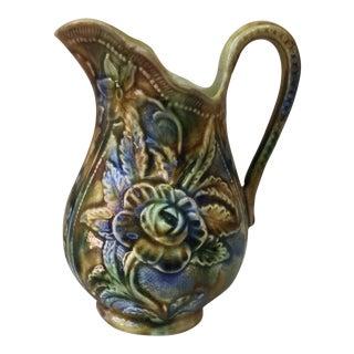 1890 Antique Majolica Rose Pitcher For Sale