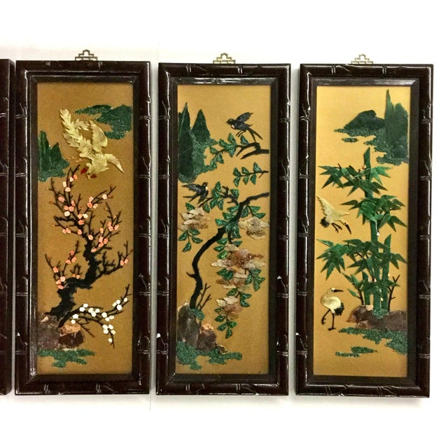 Asian 1960s Vintage Chinese Carved Stone Wall Panels - Set of 4 For Sale - Image 3 of 12