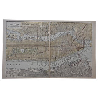 City Map Antique Lithograph - New York City, NY