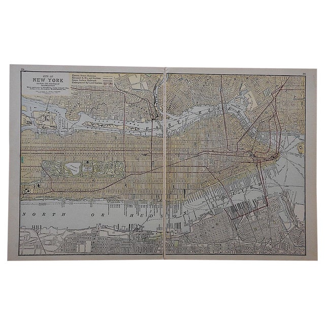City Map Antique Lithograph - New York City, NY For Sale