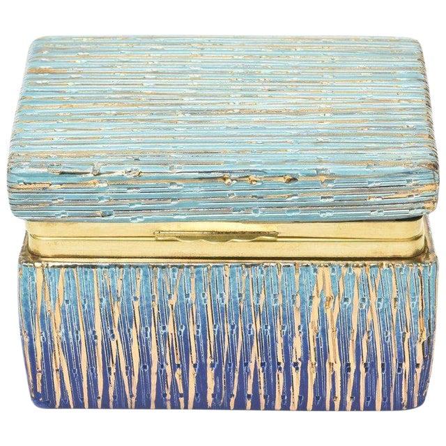 Italian Mid-Century Modern Bitossi Glazed Ceramic, Gold and Brass Hinged Box For Sale