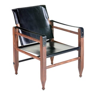 Leather Campaign Chair For Sale