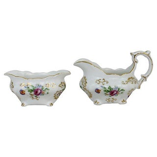 Castle China Sugar & Creamer - A Pair