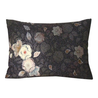 Mauve & Plum Floral Japanese Kimono Lumbar Pillow Cover For Sale