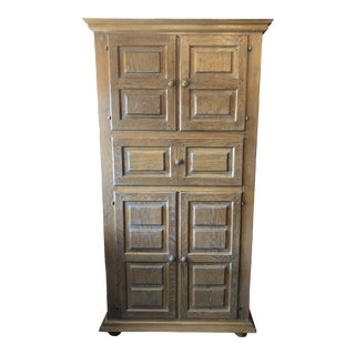 Collection Repro.- Solid Oak Highboy Armoire For Sale